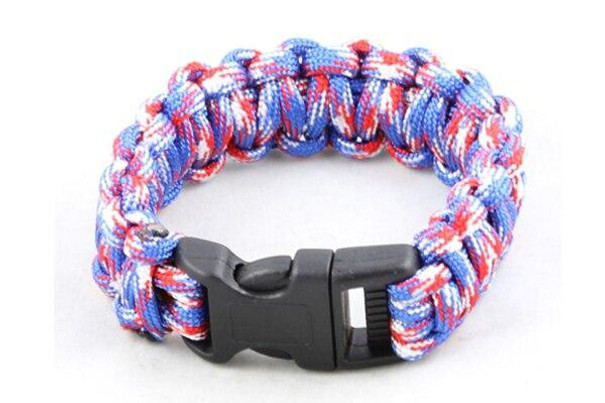 Paracord Small Survival Bracelet Red White and Blue Military Airsoft Paintball Cobra Weave