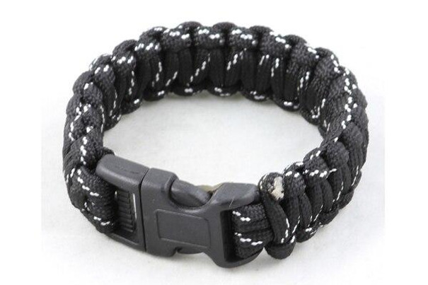 Paracord Large Survival Bracelet Cosmos Black W/ White Military Airsoft Paintball Cobra Weave