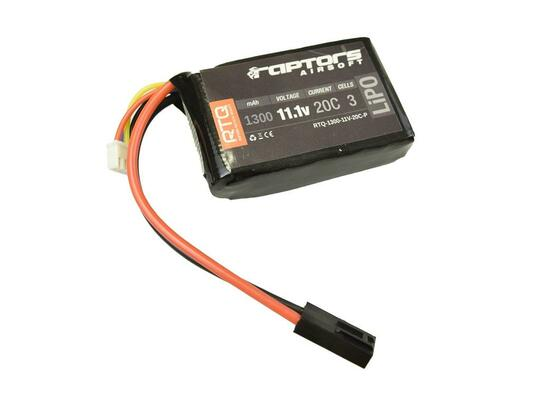 Raptors Airsoft RTQ 11.1V 1300 mAh 20C LiPO Battery for PEQ/AN-15 Box