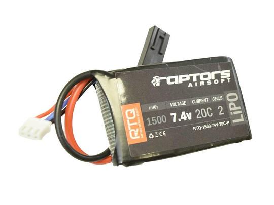 Raptors Airsoft RTQ 7.4V 1500 mAh 20C LiPO Battery for PEQ/AN-15 Box