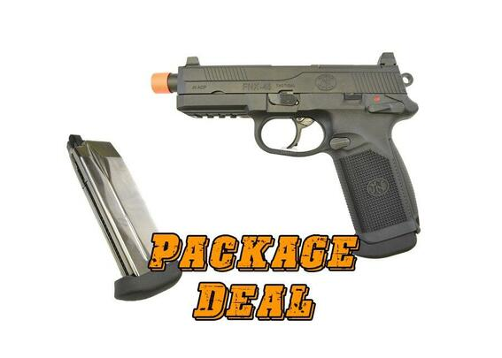 FN Herstal FNX-45 Tactical Metal Gas Blowback Airsoft Pistol, Black - Combo Package