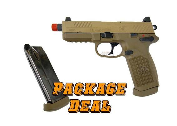 FN Herstal FNX-45 Tactical Metal Gas Blowback Airsoft Pistol, Tan - Combo Package
