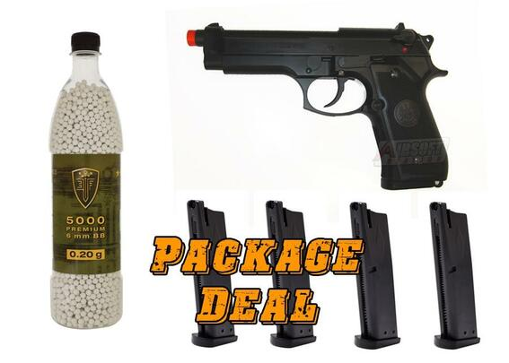 Beretta 92 Gas Blowback Airsoft Pistol by Umarex USA w/ 4 Extra Mags and 5,000 BBs