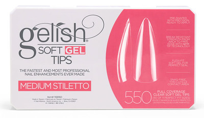 Nail Harmony Gelish Soft Gel Tips Medium Stiletto - 550 CT