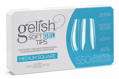Nail Harmony Gelish Soft Gel Tips Medium Square - 550 CT
