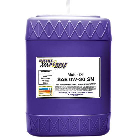 5 gallon - SAE 0W-20 High Performance Synthetic Motor Oil