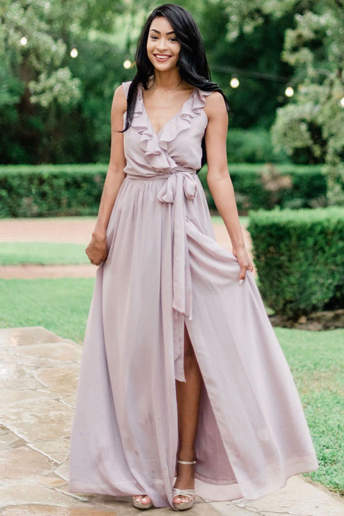 Valerie Bridesmaid Dress in Tea Time Chiffon (renamed Taupe)