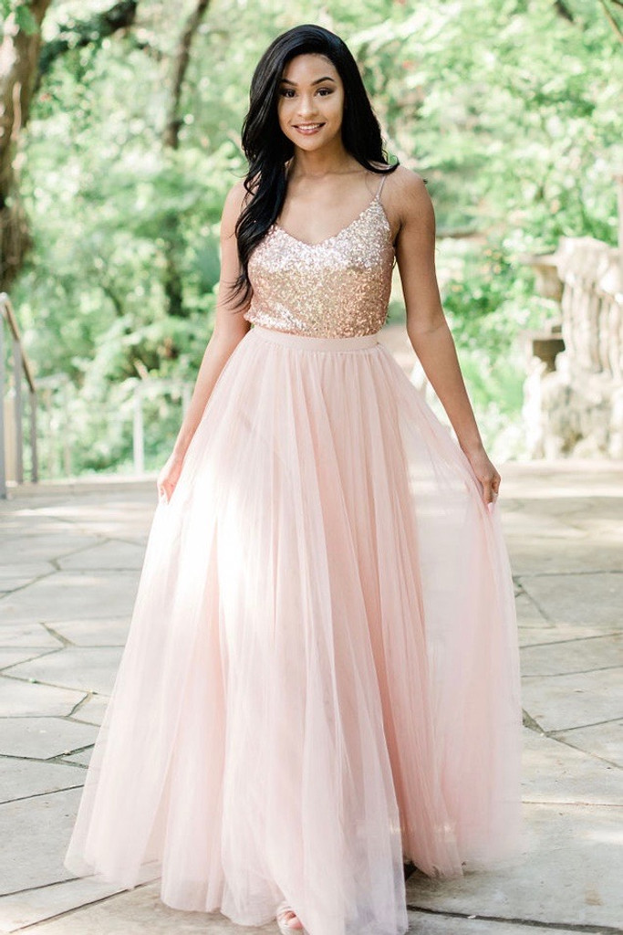 Ivy bridesmaid top in Rose Gold and Skylar Tulle skirt in Rose Gold
