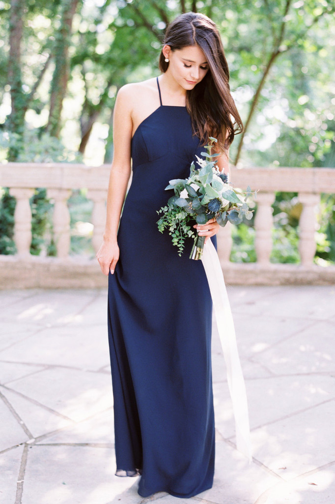 Elle high neck chiffon  bridesmaid dress in Sail Away Chiffon (renamed Navy)