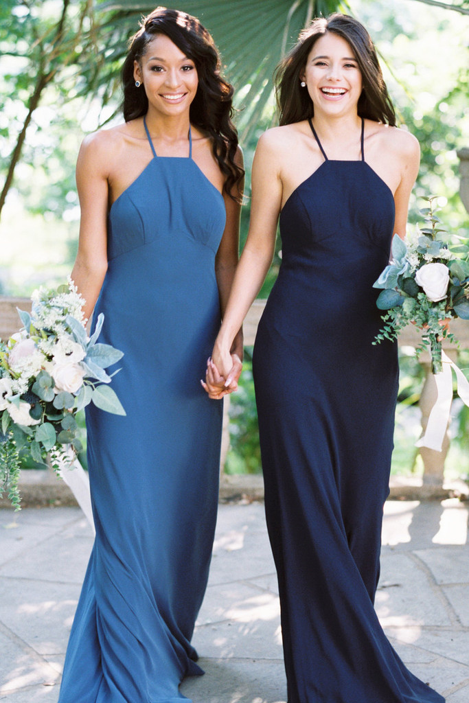Elle high neck chiffon  bridesmaid dress in Bon Voyage &  Sail Away Chiffon (renamed Romantic Blue and Navy)