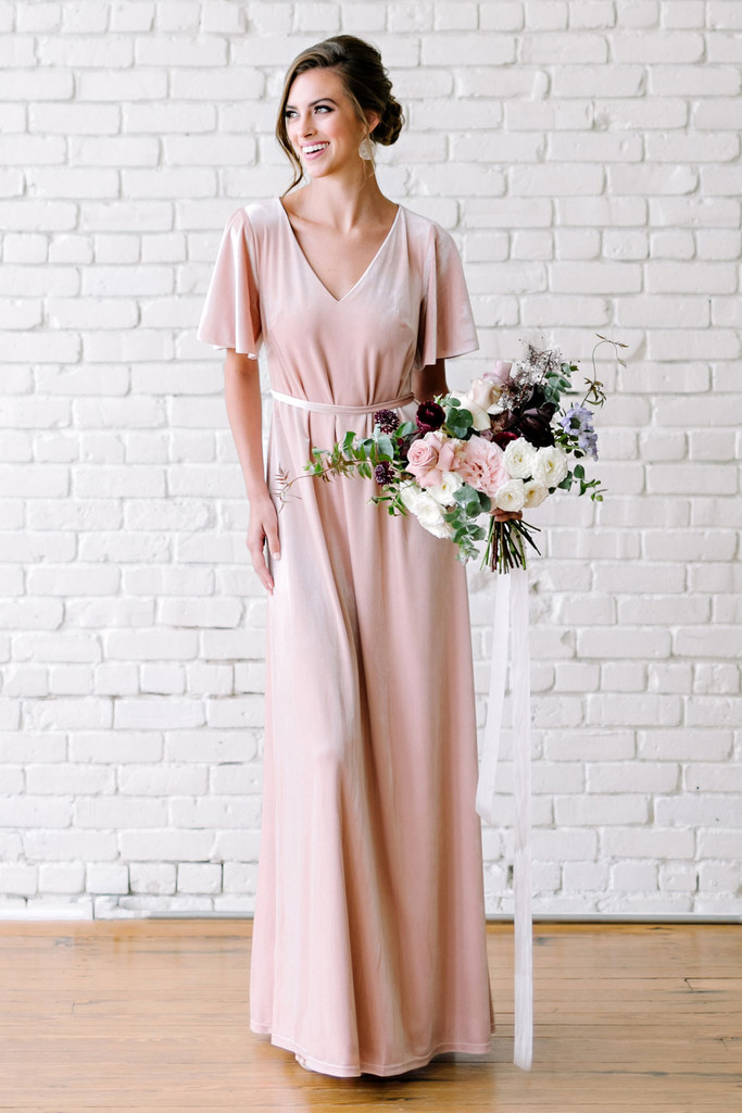Sample Reese Velvet Dress - Pearl Pink