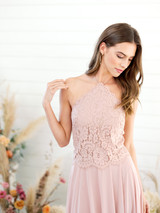 Emery Bridesmaid Top in Blush Lace