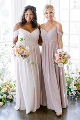 Model on Left: Charisse, Size: 16, Color: Taupe | Model on Right: Britt, Size: 4, Color: Mauve
