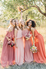 Models left to Right:  Sophia, Size 8, Color: Cinnamon Rose  Lindsey, Size 4, Color: First Kiss Pink  Britt, Size 2, Color: Desert Rose  Carneshia, Size 2, Color: Rust Orange