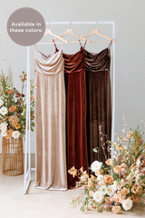 Velvet by the yard is available in Champagne, Terracotta and Dusty Purple (named from left to right).