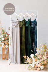 Velvet by the yard is available in Sage, Olive, Emerald, and Desert Blue (named from left to right).