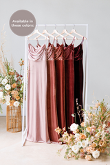 Velvet by the yard is available in Blush, Dusty Rose, Terracotta, Romantic Rose and Burgundy (named from left to right).