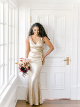 Model: Faith, Size 8, Color: Champagne Gold