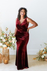 Model: Charisse, Size: 16, Color: Burgundy