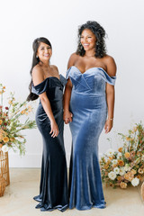 Model Left: Jocelyn, Size: 4, Color: Slate Blue  Model Right: Charisse, Size: 16, Color: Indie Blue