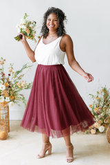 Model: Charisse. Size: 16, Color: Cabernet.
