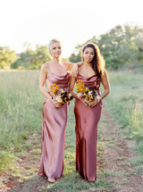 Model on Left: Britt, Size: 4, Color: Desert Rose | Model on right: Faith, Size: 8, Color: Cinnamon Rose