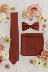 Terracotta Rust Tie, Bow tie, and Pocket Square