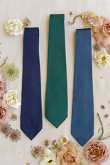 Navy Blue, Classic Emerald, and Romantic Blue tie