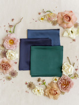 Romantic Blue, Navy Blue, and Classic Emerald Satin Pocket Square