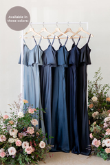 Riley is available in French Blue, Indie Blue, Romantic Blue, Navy Blue, and Black (named from left to right).