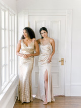Model Right: Faith, Size: 8 Color: Champagne Gold  Model Left: Saije, Size: 4, Color: Gold Champagne