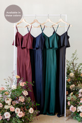 Flora is available in Cabernet, Navy Blue, Classic Emerald, and Black (named from left to right).