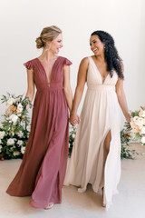 Model Left: Britt, Size: 4, Color: Cinnamon Rose, Model in sister style (Lanai) on Right: Faith, Size: 8, Color: Champagne