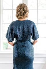 Model: Debby, Size: Small, Color: Navy Blue