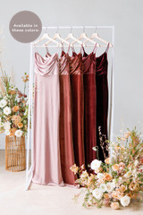 Esther is available in Blush, Dusty Rose, Terracotta, Romantic Rose and Burgundy (named from left to right).