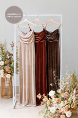 Esther is available in Champagne, Terracotta and Dusty Purple (named from left to right).