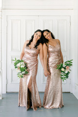 Model: Claudia; Size: 16, Color: Rose Gold Sequin Model: Faith; Size: 8, Color: Rose Gold Sequin