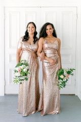Model: Claudia; Size: 16, Color: Rose Gold Sequin (Right: pictured with Rory)