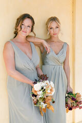 Model: Britt; Size: 4; Color: Silver Sage (Left: pictured with Blair Chiffon, Silver Sage)