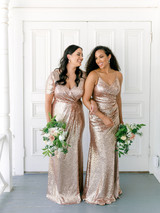 Model: Claudia; Size: 16; Color: Rose Gold Sequin (Right: pictured with Rory, Rose Gold Sequin dress)