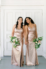 Model: Claudia; Size: 16; Color: Rose Gold Sequin (right) Model: Faith; Size: 8; Color: Rose Gold Sequin (left)