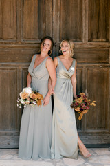 Model: Kortnie; Size: 16; Color: Silver Sage  (Right: pictured with Blair, Silver Sage satin)
