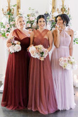 Model on Left: Beth, Size: 20, Color: Cabernet Model in Middle: Saije, Size: 4, Color: Rosewood Model on Right: Kamilah, Size: 2, Color: Bradshaw Blush