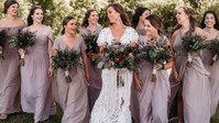 "Melted Mauve Chiffon And Mix And Match Styles Make For The Most Magnificent Vineyard ""I Dos"""