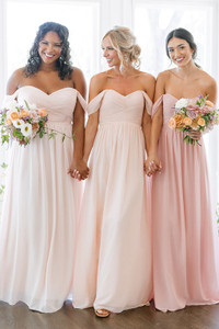 Model on Left: Charisse, Size: 16, Color: Blush   Model in Middle, Saije, Size: 4, Color: Blushing Bride   Model on Right: Britt, Size: 4, Color: First Kiss Pink