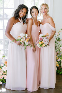 Model on Left: Charisse, Size: 16, Color: Blush | Model in Middle, Saije, Size: 4, Color: Blushing Bride | Model on Right: Britt, Size: 4, Color: First Kiss Pink