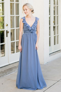 Valerie Bridesmaid Dress in Dusty Blue Chiffon