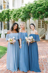 Model on left: Britt, Size: 4, Color: Dusty Blue | Model in middle: Britt, Size: 4, Color: Dusty Blue | Model on right: Saije, Size: 4, Color: Romantic Blue