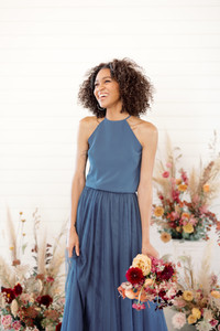 Sophie Bridesmaid Top in Dusty Blue Chiffon