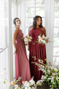 Model on Left: Saije, Size: 4, Color: Rosewood | Model on right: Charisse, Size: 16, Color: Cabernet